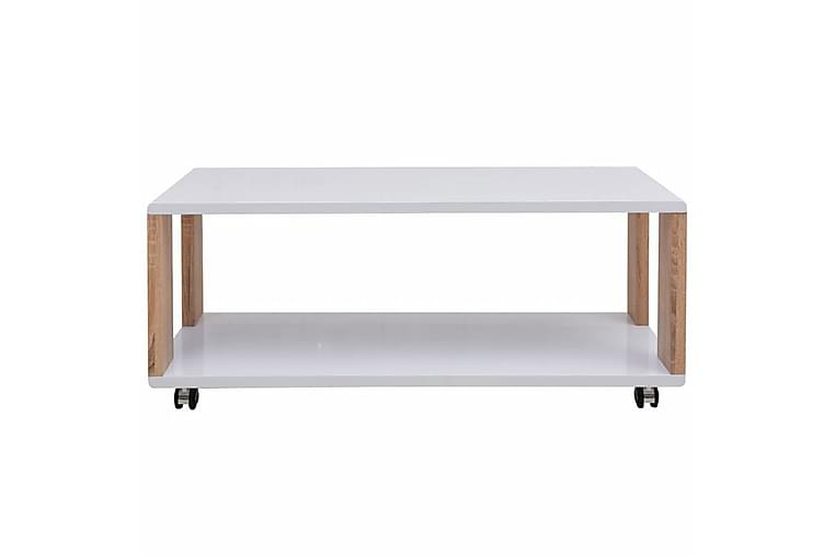 Kaffebord Høyglans Hvit - Hvit Høyglans/Natur - Møbler - Bord - Sofabord