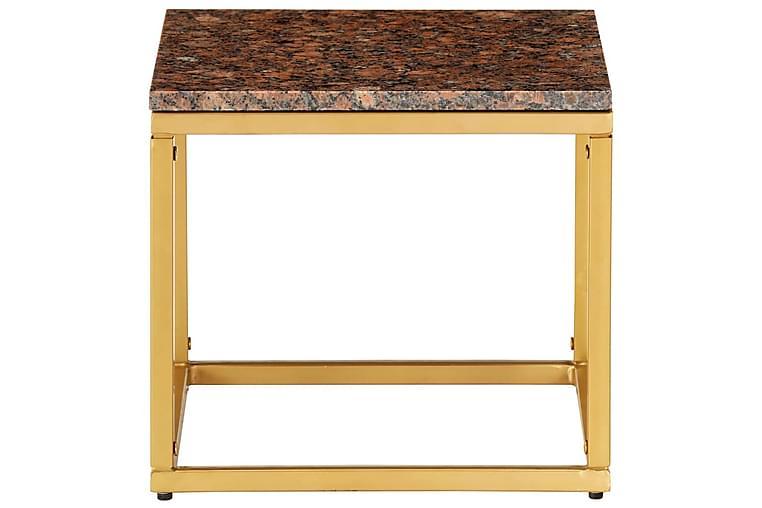 Salongbord brun 40x40x35 cm ekte stein med marmorstruktur - Møbler - Bord - Sofabord