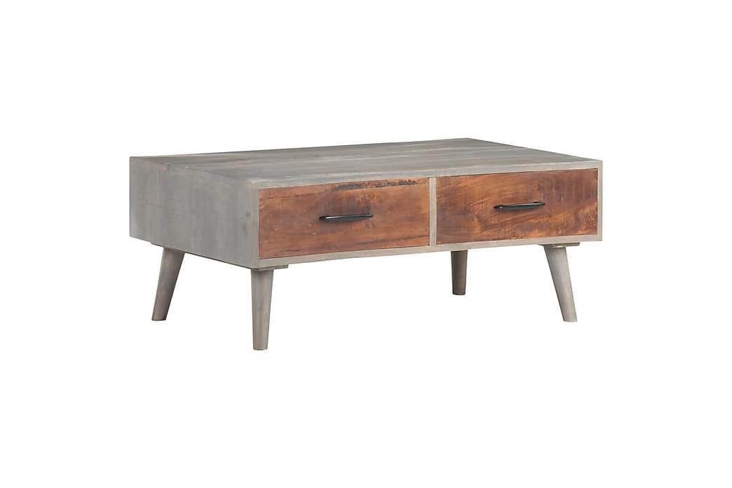 Salongbord grå 100x60x40 cm grov heltre mango - Grå - Møbler - Bord - Sofabord