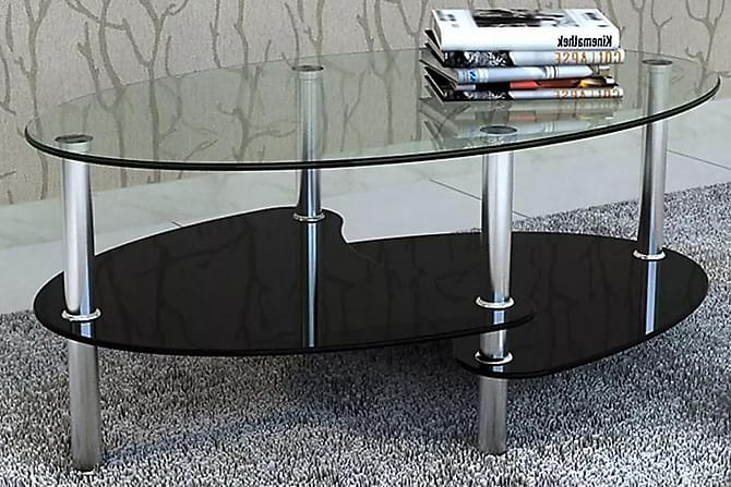 Diadora Sofabord 90x60 cm Ovalt - Glass/Svart - Møbler - Bord - Sofabord