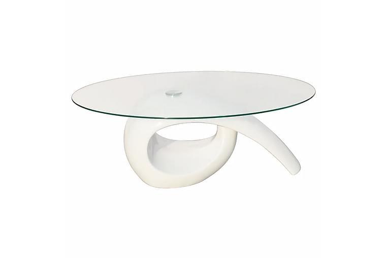 Salongbord med oval glassflate høyglans hvit - Glass/Hvit Høyglans - Møbler - Bord - Sofabord
