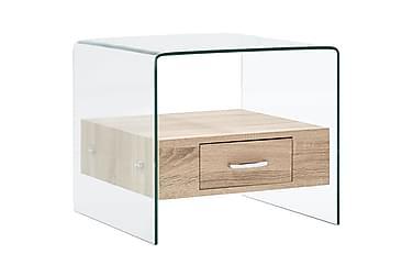 Salongbord med skuff 50x50x45 cm herdet glass