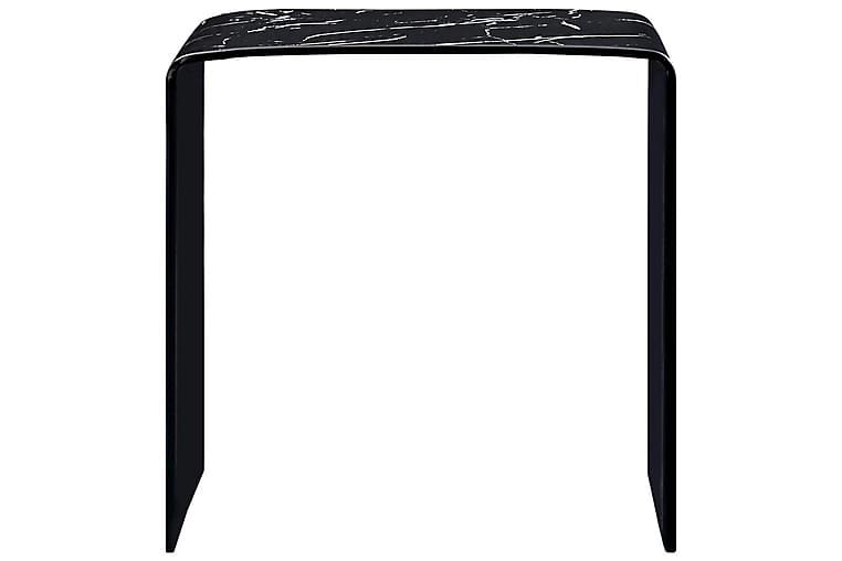 Salongbord svart marmor 50x50x45 cm herdet glass - Svart - Møbler - Bord - Sofabord