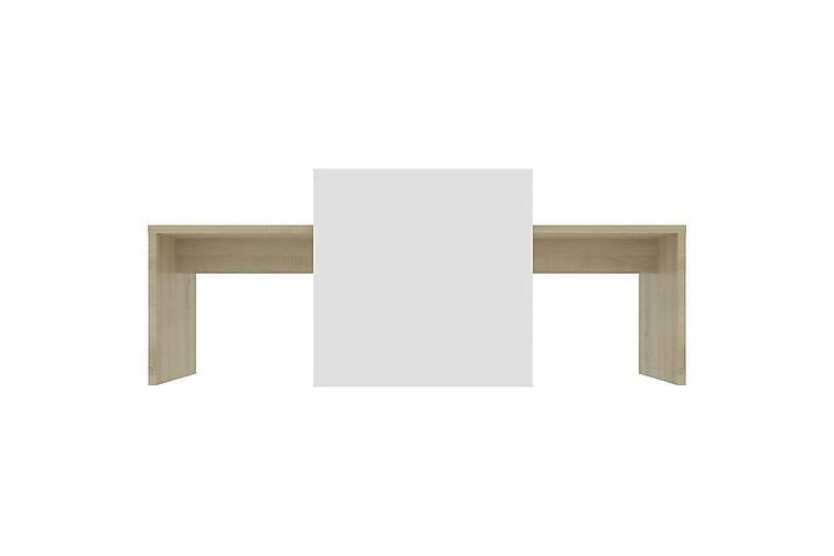 Salongbordsett hvit & sonoma eik 100x48x40 cm sponplate - Møbler - Bord - Sofabord
