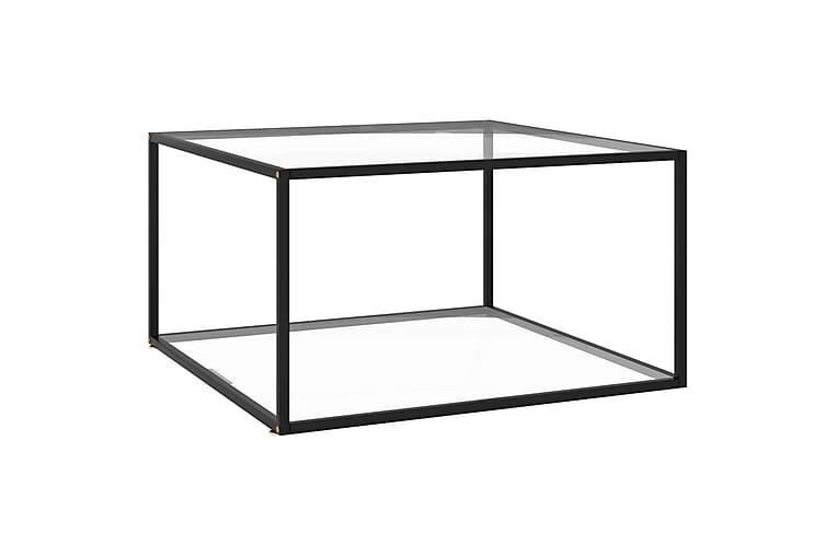 Tebord svart med herdet glass 90x90x50 cm - Svart - Møbler - Bord - Sofabord