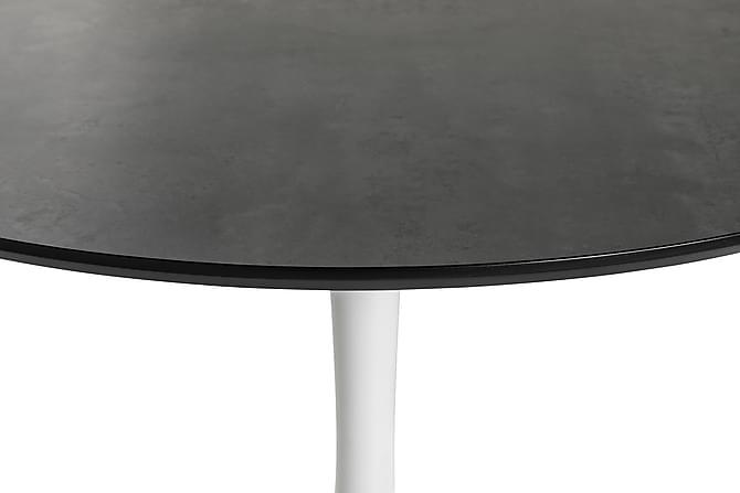 Caitly Spisebord 100 cm Rundt - Grå Marmor/Hvit - Møbler - Bord - Spisebord & kjøkkenbord