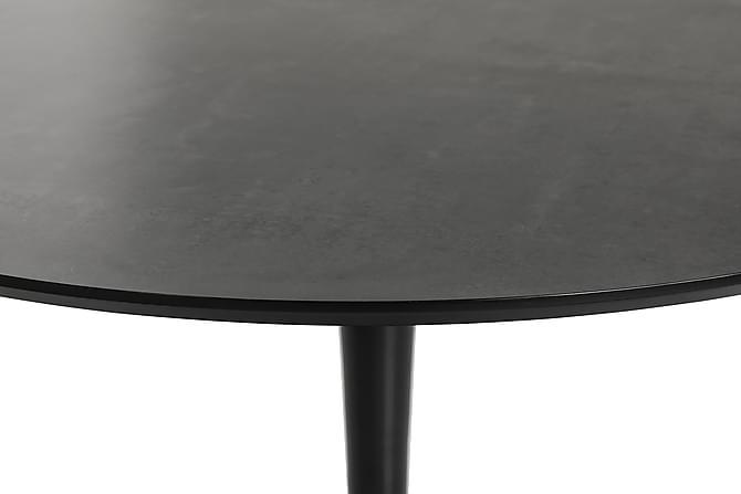 Caitly Spisebord 100 cm Rundt - Grå Marmor/Svart - Møbler - Bord - Spisebord & kjøkkenbord