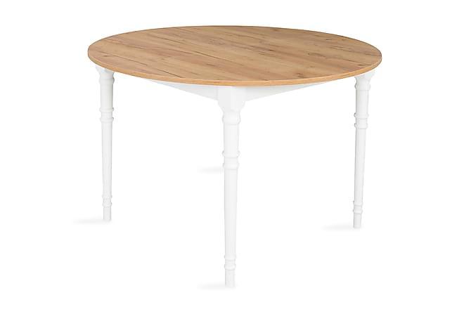 Erin Forlengningsbart Spisebord 115 cm Rundt - Eik/Hvit - Møbler - Bord - Spisebord & kjøkkenbord