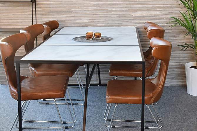 Lecce Spisebord 185 cm Marmor - Marmor/Svart - Møbler - Bord - Spisebord & kjøkkenbord
