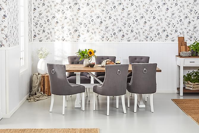 Lyon Forlengningsbart Spisebord 200 cm - Vintage Natur/Hvit - Møbler - Bord - Spisebord & kjøkkenbord