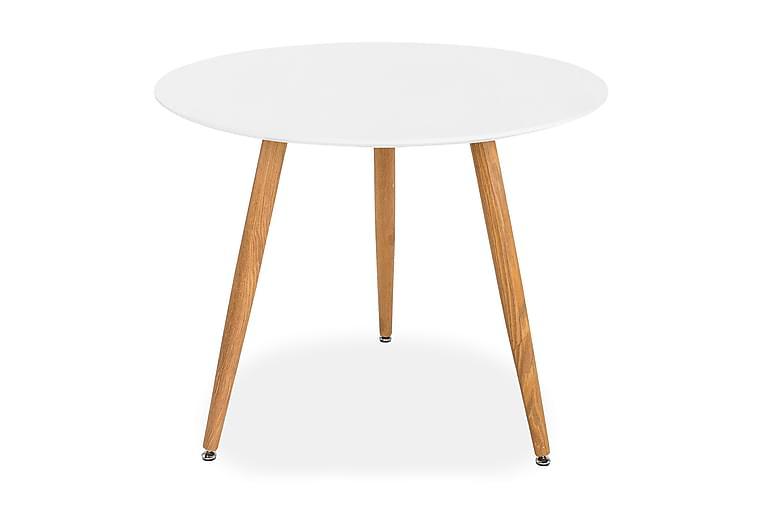Pontus Spisebord 90 cm Rundt - Hvit/Eik - Møbler - Bord - Spisebord & kjøkkenbord
