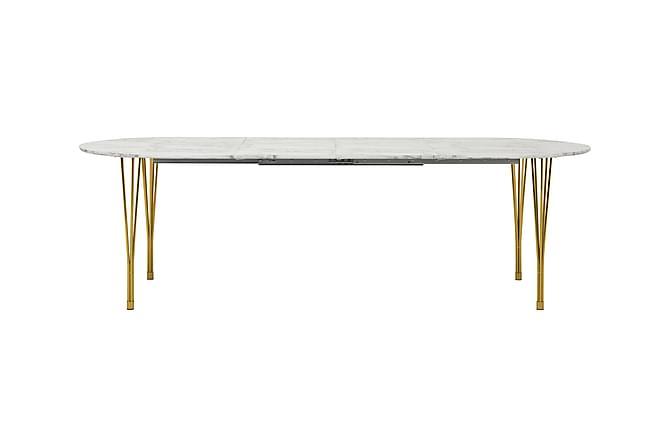 Tyson Forlengningsbart Spisebord 160 cm Ovalt - Marmor/Messing - Møbler - Bord - Spisebord & kjøkkenbord