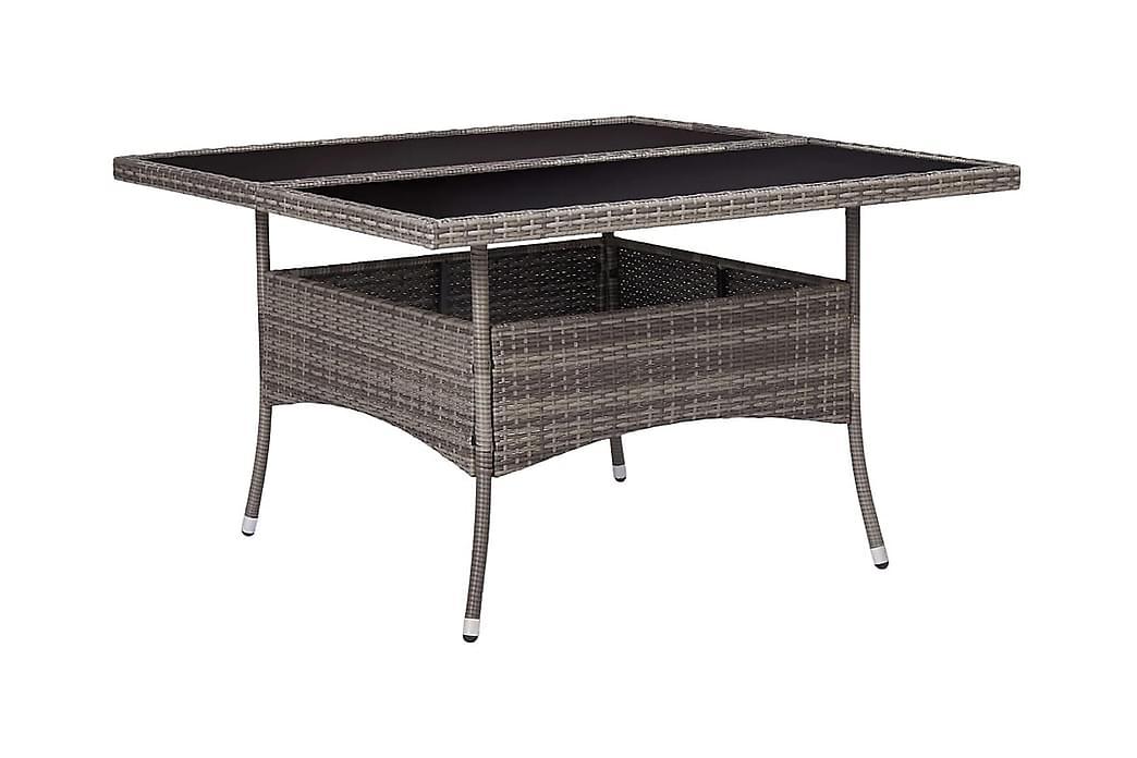Utendørs spisebord grå polyrotting og glass - Grå - Møbler - Bord - Spisebord & kjøkkenbord