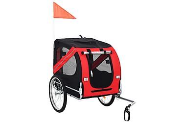 Sykkeltilhenger for hund rød og svart