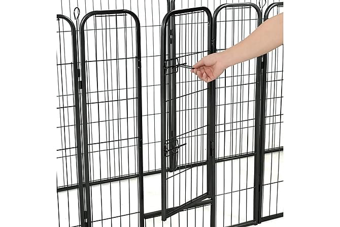 Hundegrind 8 paneler stål 80x100 cm svart - Møbler - Husdyrmøbler - Hundemøbler