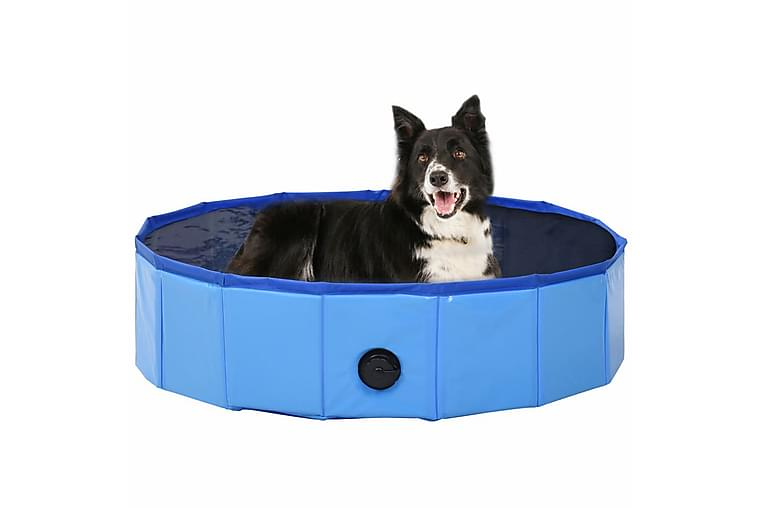 Sammenleggbart hundebasseng blå 80x20 cm PVC - Møbler - Husdyrmøbler - Hundemøbler