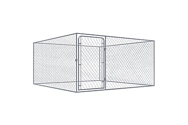 Utendørs hundegård galvanisert stål 2x2 m