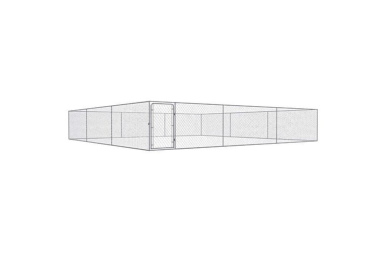 Utendørs hundegård galvanisert stål 6x6 m