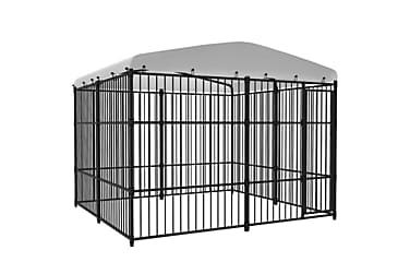 Utendørs hundegård med tak 300x300 cm