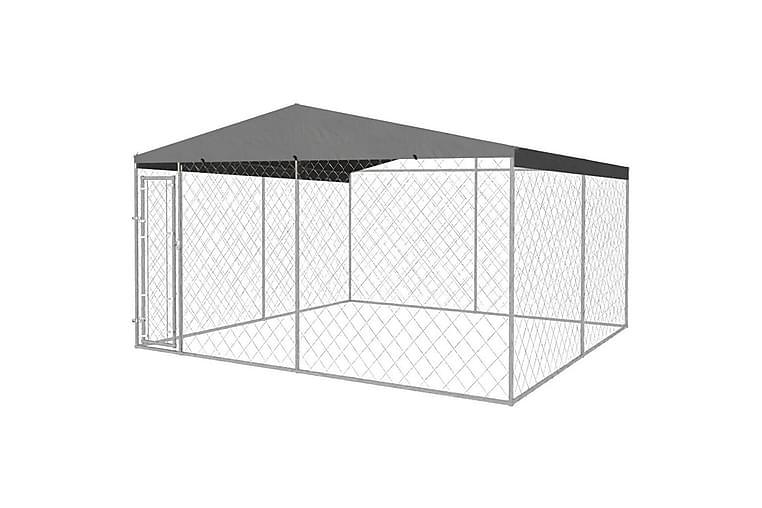 Utendørs hundegård med tak 4x4 m