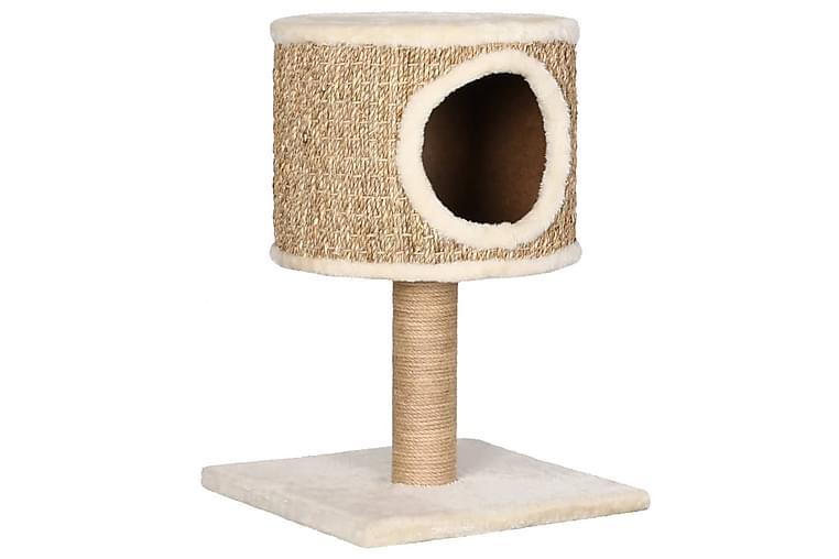 Kattetre med kattehus og klorestolpe 52 cm sjøgress - Beige - Møbler - Husdyrmøbler - Kattemøbler
