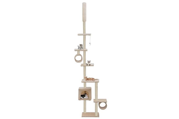 Klorestativ til katt med klorestolper i sisal 260 cm beige - Beige - Møbler - Husdyrmøbler - Kattemøbler