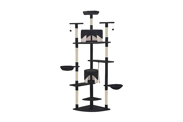 Kloretre med klorestolper i sisal 203 cm svart og hvit - Svart/Hvit - Møbler - Husdyrmøbler - Kattemøbler