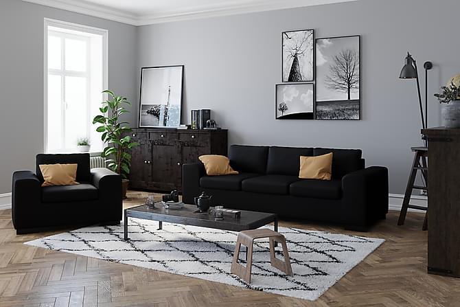 Connect Sofagruppe Lenstol+Fotskammel 70 cm Økolær - Svart - Møbler - Lenestoler - Lenestoler