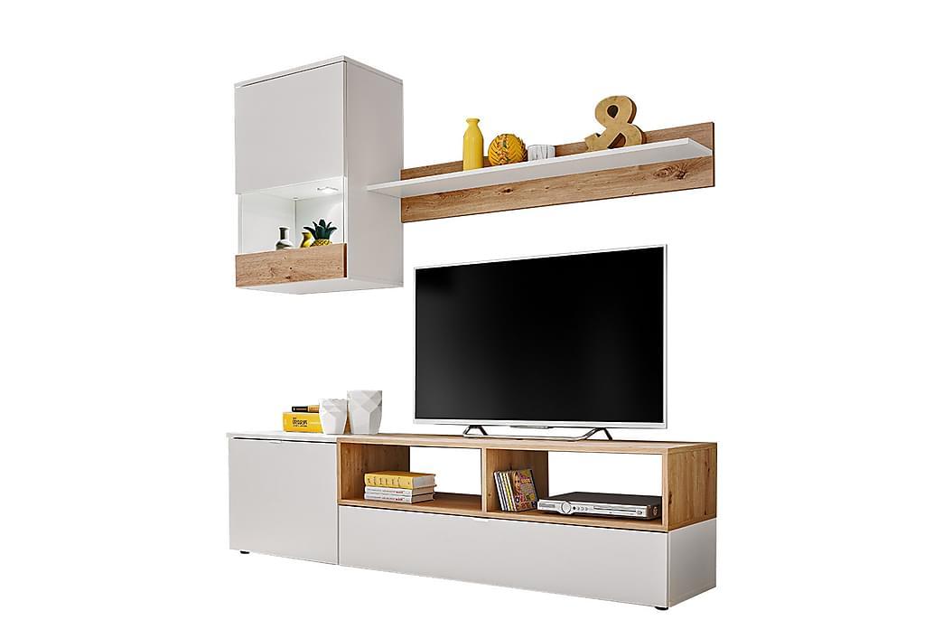 Mini Stuesett 38x175 cm LED-belysning - Hvit/Eik - Møbler - Møbelsett - Møbelsett til stue