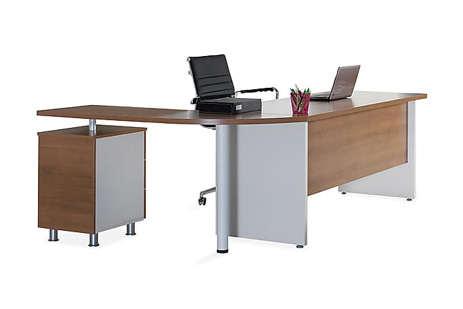 Ache Kontormøbelsett 160 cm - Valnøtt|Hvit - Møbler - Møbelsett - Møbelsett til kontor