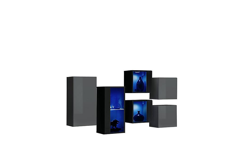 Apryl TV-møbelsett - Svart/Grafitt høyglans - Møbler - Medie- & TV-møbler - TV-benk & mediabenk