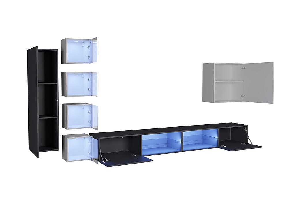 Apryl TV-møbelsett + LED - Grafitt høyglans|Tre/Natur - Møbler - Medie- & TV-møbler - TV-benk & mediabenk