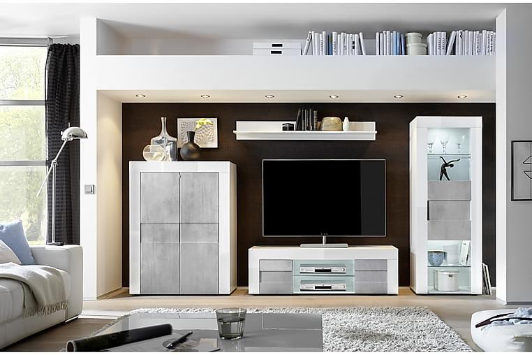 Easy TV-benk 138 cm Stor Hylle 2 Dører - Hvit/Betong - Møbler - Medie- & TV-møbler - TV-benk & mediabenk