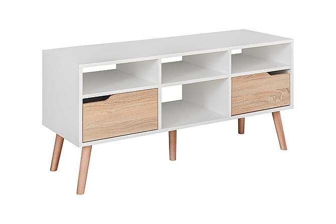 Fastebo TV-Benk 58x117 cm - Hvit/Eik - Møbler - Medie- & TV-møbler - TV-benk & mediabenk