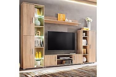Gennaro TV-møbelsett 260 cm LED-belysning