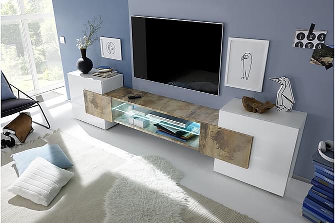 Incastro TV-benk 258 cm - Hvit/Tre - Møbler - Medie- & TV-møbler - TV-benk & mediabenk