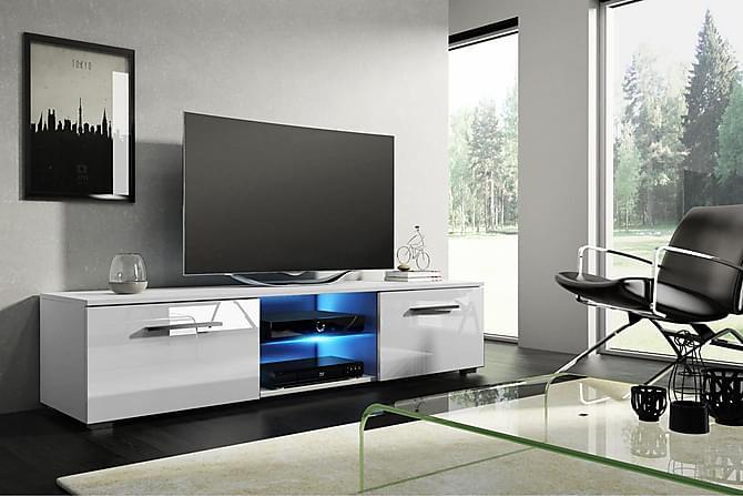Storsjö TV-benk 140 cm LED-belysning - Hvit - Møbler - Medie- & TV-møbler - TV-benk & mediabenk