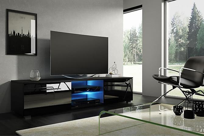 Storsjö TV-benk 140 cm LED-belysning - Svart - Møbler - Medie- & TV-møbler - TV-benk & mediabenk