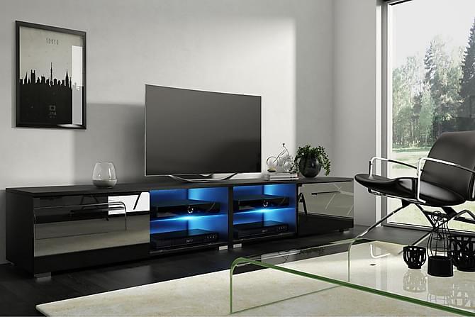 Storsjö TV-benk 200 cm LED-belysning - Svart - Møbler - Medie- & TV-møbler - TV-benk & mediabenk