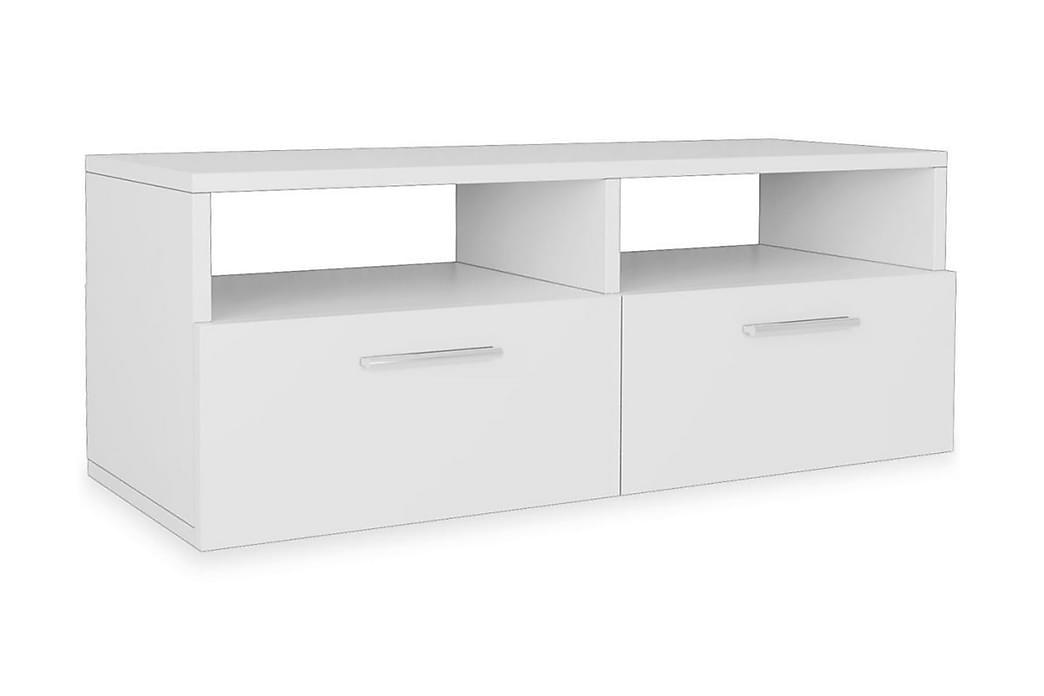 TV-benk 2 stk sponplater 95x35x36 cm hvit - Møbler - Medie- & TV-møbler - TV-benk & mediabenk