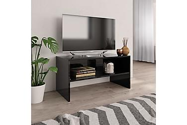 TV-benk høyglans svart 80x40x40 cm sponplate