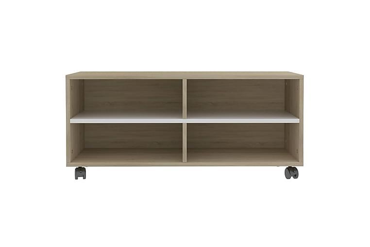 TV-benk med hjul hvit og sonoma eik 90x35x35 cm sponplate - Flerfarget - Møbler - Medie- & TV-møbler - TV-benk & mediabenk