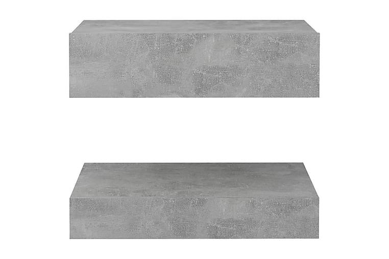 TV-benk med LED-lys betonggrå 60x35 cm - Grå - Møbler - Medie- & TV-møbler - TV-benk & mediabenk