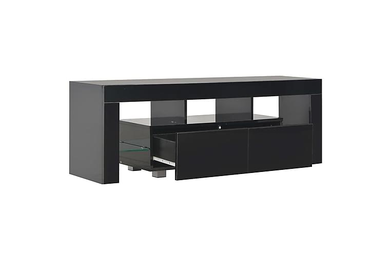 TV-benk med LED-lys høyglans svart 130x35x45 cm - Svart - Møbler - Medie- & TV-møbler - TV-benk & mediabenk