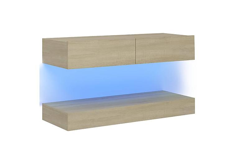 TV-benk med LED-lys sonoma eik 90x35 cm - Brun - Møbler - Medie- & TV-møbler - TV-benk & mediabenk