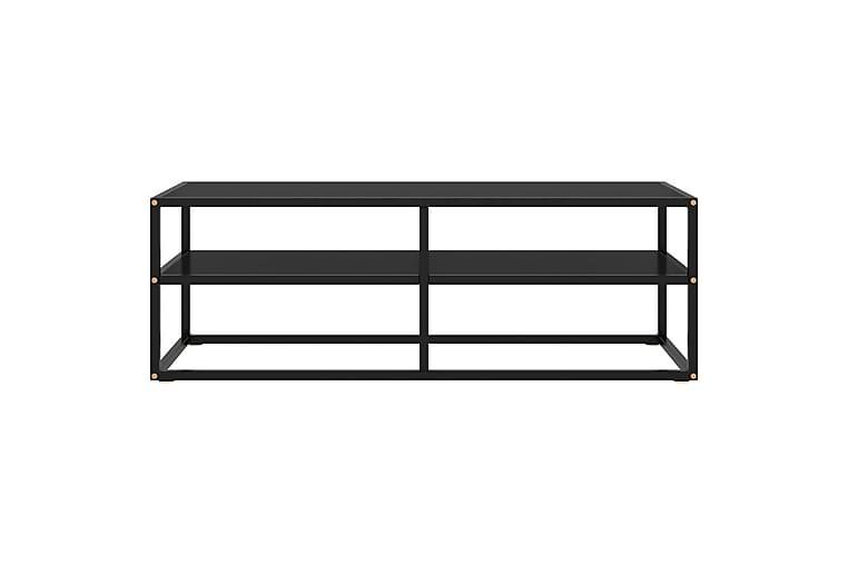 TV-benk svart med svart glass 120x40x40 cm - Svart - Møbler - Medie- & TV-møbler - TV-benk & mediabenk