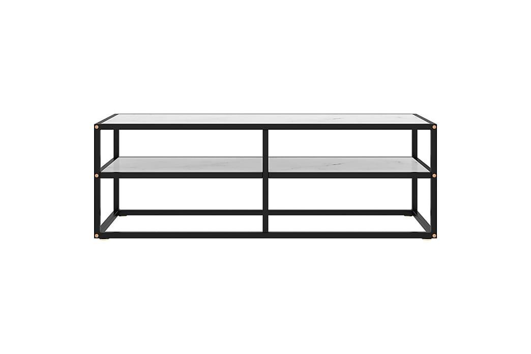 TV-kabinett svart med hvitt marmorglass 120x40x40 cm - Svart - Møbler - Medie- & TV-møbler - TV-benk & mediabenk