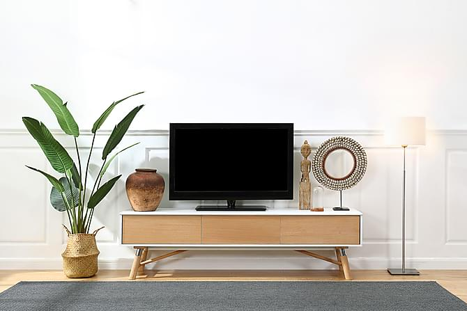 Waltham TV-benk 180 cm - Hvit/Eik - Møbler - Medie- & TV-møbler - TV-benk & mediabenk