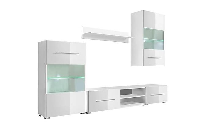 Caronia TV-møbelsett 240 cm med Vitrineskap + LED 5 Deler - Hvit - Møbler - Medie- & TV-møbler - TV-møbelsett