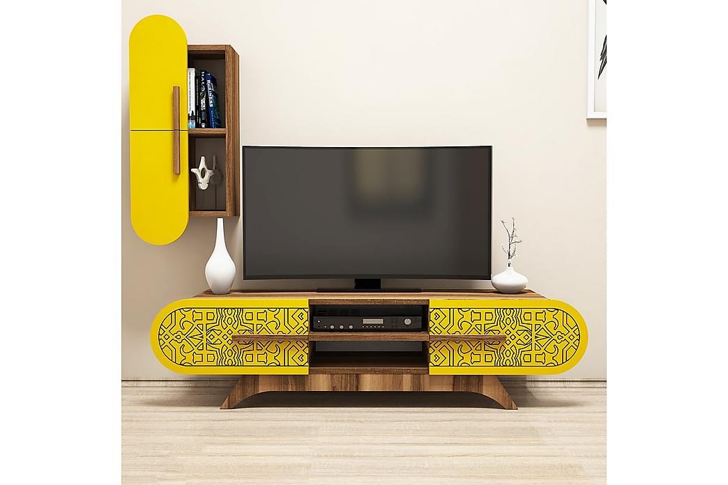 Hovdane TV-Benk 145 cm - Brun/Gul - Møbler - Medie- & TV-møbler - TV-møbelsett